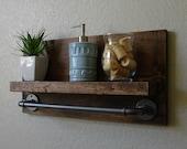 "Simply Modern Rustic Bathroom Shelf with 18"" Industrial Style Towel Bar"