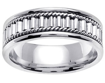 White Gold Hand Braided Cord Wedding Ring