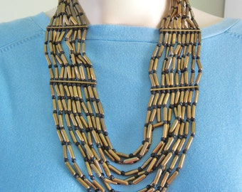 Vintage Brass Multistrand Necklace, Huge Brass Bib necklace, heavy brass bench bead necklace, statement necklace, multistrand necklace,