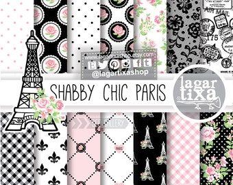 Shabby Chic Paris, Digital Paper, Pink, Black, Roses, Classy Backgrounds, Chic Patterns, glamour For Party Printables, Baby Shower, Birthday