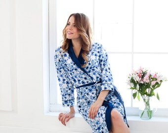 Long Dressing Gown UK 12, 14, 16, Blue Floral Robe, Floral Dressing Gown, White Floral Bathrobe, XL dressing gown, Long Floral Robe, UK