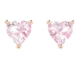 Morganite Studs Earrings Heart Earrings Fine Jewelry 14K Rose Gold Earrings Gems Nice Gifts Natural Gemstone Earrings Gifts For Her - V1143