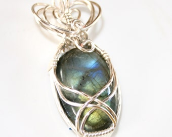 Amelia - Blue Green Labradorite Pendant, Labradorite Jewelry, Wire Wrapped Pendant, Wire Wrapped Jewelry, Gift For Her, Gemstone Jewelry