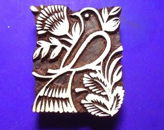 Dove Bird Floral Hand Carved Wood Textile Pottery Stamp  Indian Printing Block