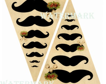 Christmas mustache hipster baubles sepia steampunk theme bunting party flags x 6 printed