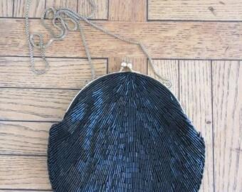 Vintage Black Beaded Evening Bag - Long Chain - Nice!!