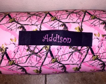 """Nap Mat Personalized Pink Real Tree Girl Nap Mat with Pillow, Minky Blanket and 1"""" memory foam"""
