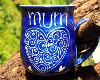 unique coffee mug wheelthrown mug Mum mug personalised gift for Mum royal blue Mum mug stoneware hearts pattern mother gift