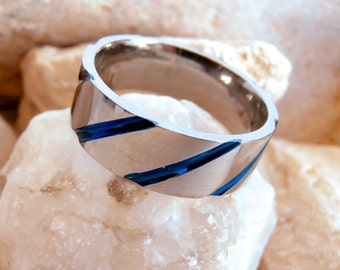 SALE ITEMS: Mens Titanium Ring - Vintage Jewellery - Blue Line Ring - Band Ring