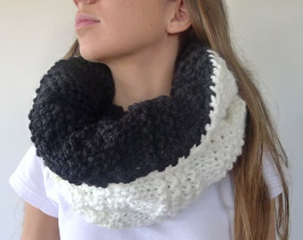 Reversible cowl scarf in black and white. Chunky knit cowl. Hooded infinity scarf. Double sided knit scarf. Unique handmade scarves.
