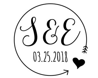 "Round Initials Date Stamp, personalised stamp, save the date stamp, wedding favor stamp, wedding stationery, custom stamp, 1.6x1.6"" (cts139)"
