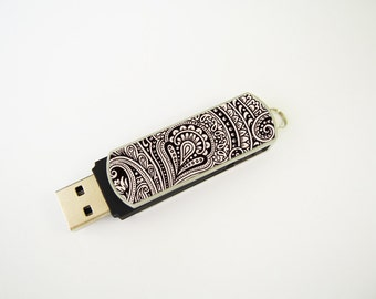 Vintage Pattern USB Flash Drive 8GB, Personalized Flash Drive, Thumb Drive