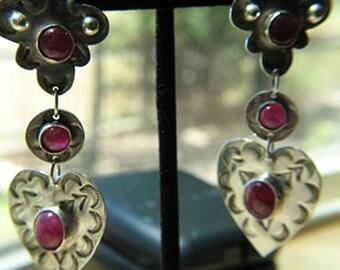 Sterling Silver and Ruby Chandelier Earrings