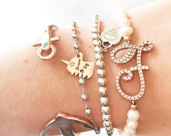 Bead bracelets Mallorca and initial in silver with zircons