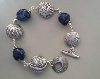 Fine silver pmc and sodalite lentil bead bracelet
