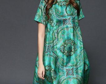 Mulberry silk dress,High-end Elegant printing dress,female dress,summer dress,party dress,short sleeve,green dress - Women Clothing ZS033