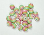 Paper Beads Loose Handmade Round Supplies Rainbow Ombre
