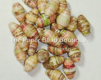 Hand Rolled Loose Paper Beads Supplies Mixed Media Floral