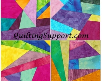 Crazy Patch Set 5 Paper Foundation Piecing Quilting 4 Block Patterns PDF