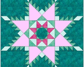 Peaceful Hours Feathered Star Paper Piece Template Quilting Block Pattern PDF
