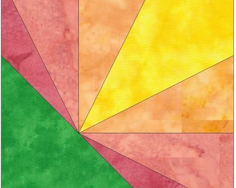 Sunrise Paper Piece Foundation Quilting Block Pattern PDF