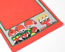 Vintage Swedish Christmas Table Runner by Bodil Wallman 1960s Hand Printed Red & Green Tomte Scandinavian Advent Tablecloth
