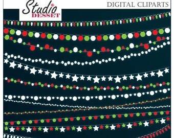 EXCLUSIVE 80% SALE Christmas Lights Clipart, Holiday Lights, String Lights, Christmas Clip Art C263