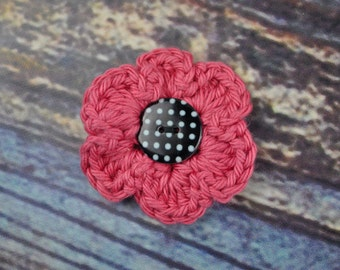 Flower Hair Accessory - Mauve Black and White