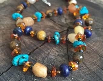 Amber & Turquoise Necklace, bright warm lapis turquoise amber gemstone necklace