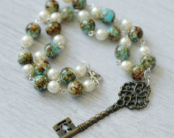 Steampunk Mermaid, Necklace and Earrings, Bronze, Faux Pearl and Moss Green Beaded Key Necklace