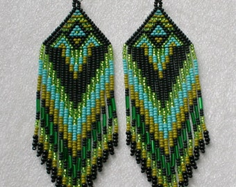 Long Indian style beads earrings ,  tribal style, boho style , Native American Beaded Earrings