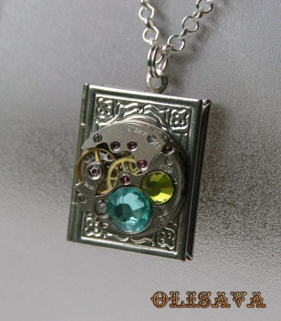 Steampunk jewelry. Steampunk Book pendant / locket / necklace , Steampunk jewelry by Olisava steampunk buy now online