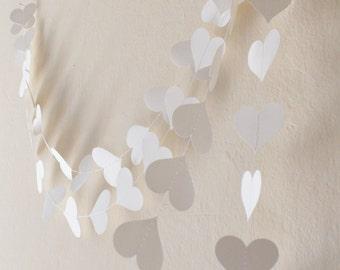 White paper heart garland , wedding decor, Party decoration, Wedding garland
