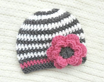 Baby girl gift, crochet baby hat, pink flower baby hat, baby girl beanie, baby girl hat, newborn hat, 0-3 month baby gift, baby shower