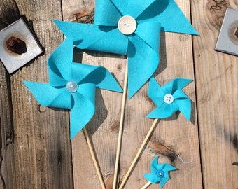 Felt windmill decoration, felt pinwheel decoration. Beach theme wedding decoration. Beach theme party decoration. Large size.