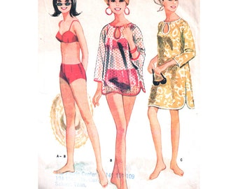 McCalls Sewing Pattern 8285 Misses' Bathing Suit, Beach Cover-up in two lengths - estimated 1960's  Size:  10  Bust 31  Used