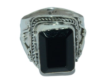 925 Sterling Silver Gorgeous Natural Black Onyx Gemstone Ring Jewelry R036
