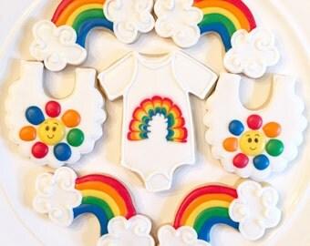 Rainbow Baby Cookies   Rainbow Cookies   Baby Shower Cookies   One Dozen