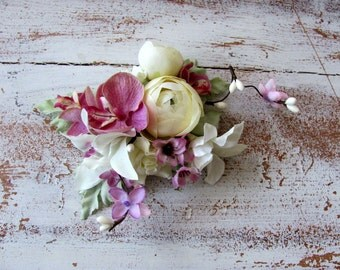 Bridal hair clip, wedding hair flowers, Ivory and orchid pink flowers,  bridesmaid hair clip, pastel hair clip