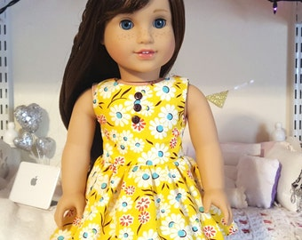 18 inch doll yellow floral dress