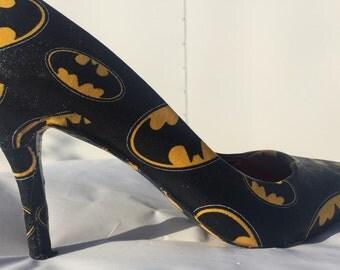 Batman heels-Batgirl Heels- Wonder Woman heels- Supergirl heels-Custom Comic Book Shoes- dc comic heels-ready to ship size 8