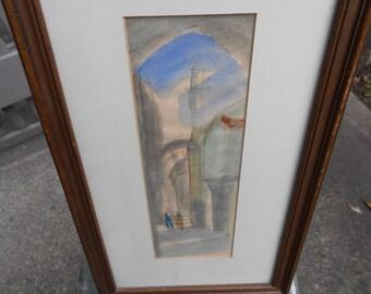 Vintage signed watercolor work by Israel Artist