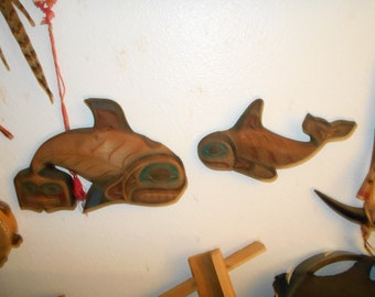 NW Coast Native American Orca Killer Whale wall hanging Sculptures