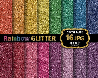 Rainbow Glitter Digital Paper Clip Art. Set of 16 JPG glitter backgrounds / digital papers. Printable. Instant download. Business use