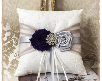 Wedding Ring Bearer Pillow,Ring Pillow, Ring Bearer Pillow, Gray and Purple Wedding Pillow