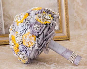 Bridal Brooch Bouquet, Silver and Gold  Bridal Bouquet, Wedding Bouquet, Bridal Accessories, Bridesmaids Flowers