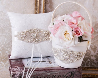 Ring Bearer Pillow, Flower Girl Basket, Rhinestone Wedding Basket and Wedding Pillow Set, Rhinestone Flower girl Basket