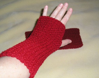 Cherry Red Mitts, winter accessories, knit, winter mitts, fingerless gloves, hand warmers, handmade, driving gloves