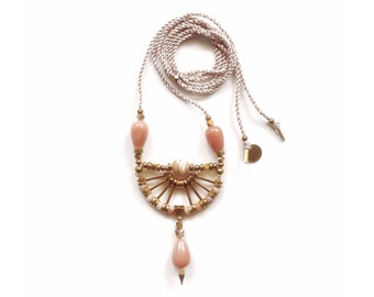 Camille Necklace  | Handmade Pink Peach Gemstone Pendant Necklace | Brass and Silk Statement Necklace | Artisanal Geometric Jewelry