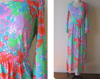 60's Keram Mod Psychedelic Neon Maxi dress size small